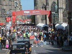 Looking down the Royal Mile during the August  Festival known as the Fringe (photo by D.L. McEachron)