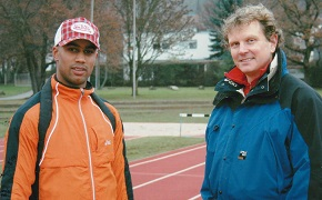 Figure: Marius Broening, German national champion and Olympic competitor in men's 4x 100 meters, and I, his coach (from 1999-2006).